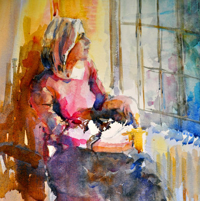 AQUARELA Watercolor-Elga-Dzirkalis-The-Light-Series-Anna-By-The-Window-04